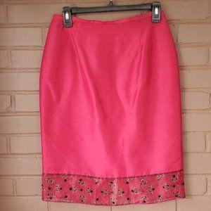 Parisian Signature Burgundy Red Silk Skirt Size 8